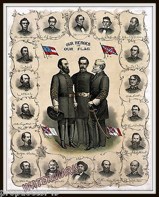 Wall Art  Civil War Print of the Confederate Officers  Year 1896   11x14
