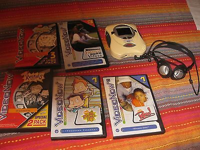 Video Now Personal Video Player and 10 Kids Videos hasbro  2004 with headphones