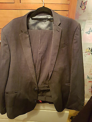 Next Mens Grey Suit - Slim Fit - 42r Jacket and 36 Trousers