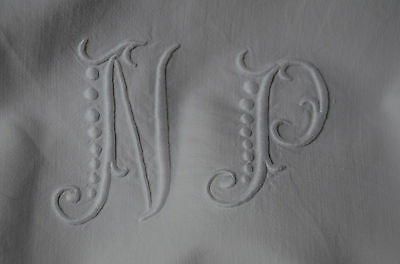 """French white linen hand embroidered sheet, NP monogram, 79"""" wide"""