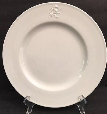 POTTERY BARN Hotel Dinner Plate White Raised Embossed Griffon Rim PBA7 11""