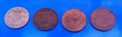 George Vi Farthing & Sixpence Coins In Used Condition