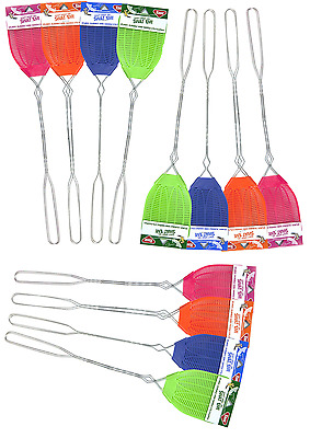 12pk-- NEW Enoz R-37 Plastic Fly Swatter Wire Handle Multi Color Plastic Blade