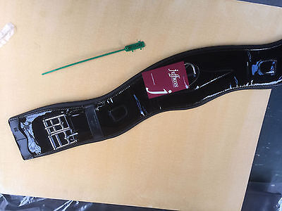 """Jeffries 24"""" Black Leather Anatomical Shaped Dressage Girth (not patent)"""