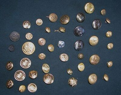 Vintage Mixed Lot of 42 Military, Post Office,Railroad, etc. Brass Metal Buttons
