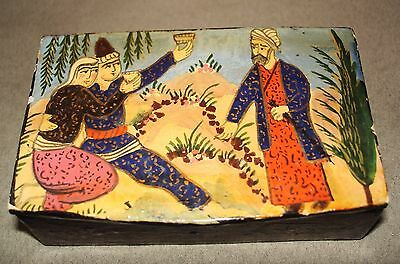 Antique Paper Mache Patch Box/ Scene from Rubiat of Omar Khaayam(?) on Lid