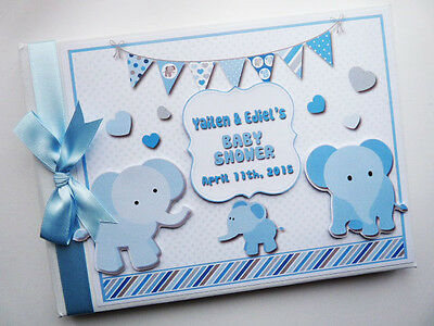 Personalised Blue Elephants Baby Shower Boy Guest Book - Any Design