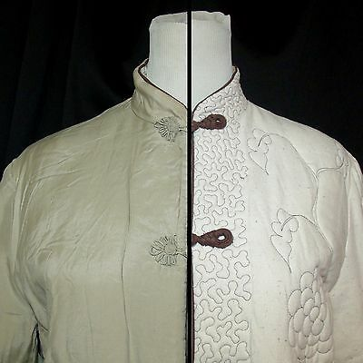 Vtg 70s Reversible Chinese Silk Jacket L/XL Ivory Quilted Mandarin Collar Peony