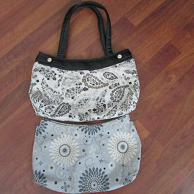 Thirty One Black Skirt Purse w/ Brown Floral Paisley & Earl Gray Blossom Skirts