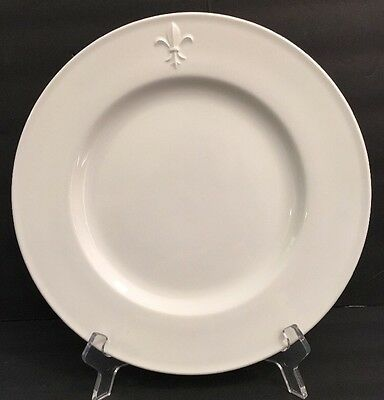 POTTERY BARN Hotel Dinner Plate Fleur de Lis White Raised Embossed Rim PBA36 11""