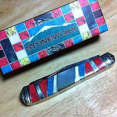 """Rough Rider Stoneworx Turquoise Mother of Peal Trapper 4 1/8""""Pocket knife  RR918"""