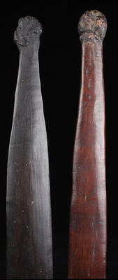 PAIR OF 19TH C. ABORIGINAL WOOMERA SPEARTHROWERS, Great Color/ Patina