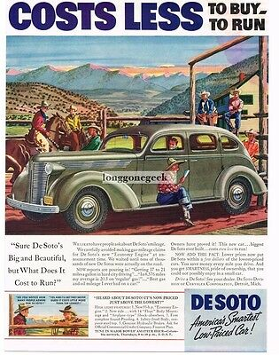 1937 De Soto Grey Sedan On The Ranch Cowboys Horses art Vtg Print Ad