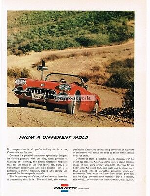 1959 Chevrolet Chevy CORVETTE Red Convertible on Gravel Road VTG PRINT AD