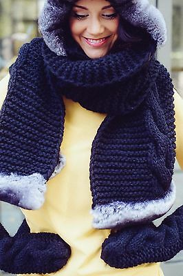 Handmade knitted set: scarf, cap, mittens with genuine chinchilla fur