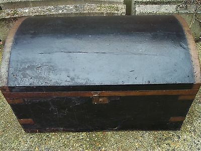 Antique Dome top trunk travel chest blanket box