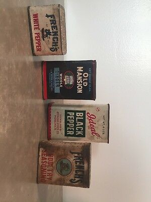 Vintage Lot of 4 Kitchen Spice Tins French's Ideal Old Mansion