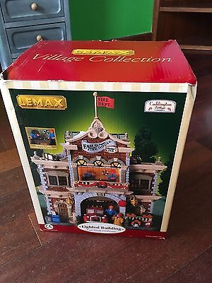 """Lemax Village Collection East St. Fire House Lighted Building #45050 8.5"""" Tall"""