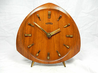 Beautiful 50´s design Konnexa / Junghans Teak table clock  Tisch Uhr  working