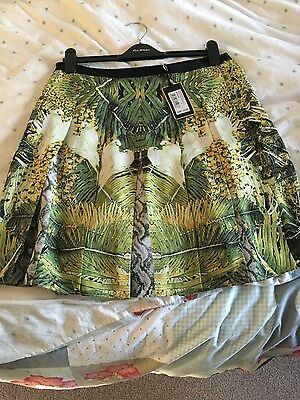 Bnwt Ladies Ted Baker Tropical Dove Print Skirt Size 3