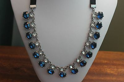 Costume Jewelry 19 Inch Chain Blue And White Stones Nice Neck Piece