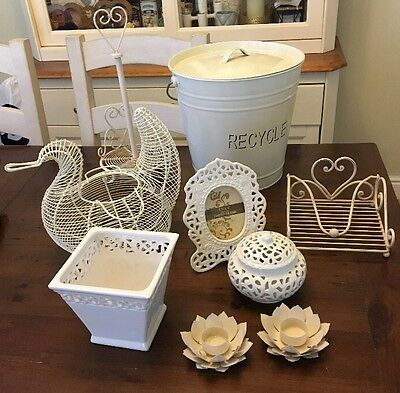 Shabby Chic Cream Kitchen Bundle Recycle Bin Kitchen Roll/Napkin Holder Etc