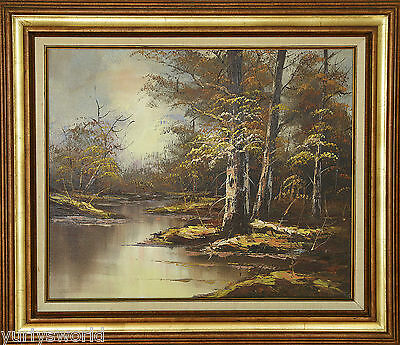 VINTAGE  RIVER and  FOREST LANDSCAPE OIL PAINTING ON CANVAS -SIGNED-