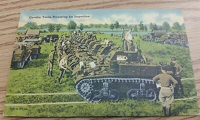 Tank postcard Soldier writing home selling a Ford dealer car  Rock WWII