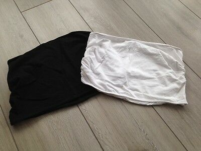 Mothercare Maternity X 2 Black And White Bump Bands Size Medium