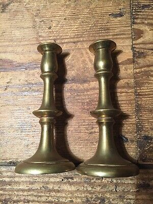 Small Pair Of Old Solid Brass Candlestick Holders 10.5 cm 220 g