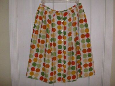 *VINTAGE 50s/Early 60s DOT Pattern COTTON SKIRT TABAK of CA- Size SMALL**