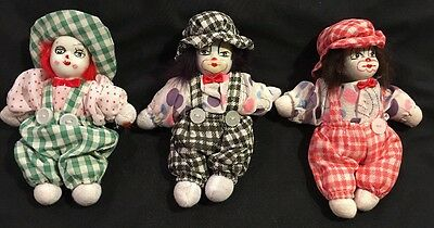 Porcelain 5 In. Clowns - 3 Clowns Green, Black, And Red Coveralls