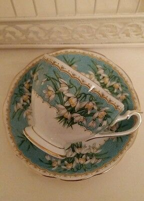 Queen Anne vintage china cup and saucer Marilyn Snowdrops February birthday