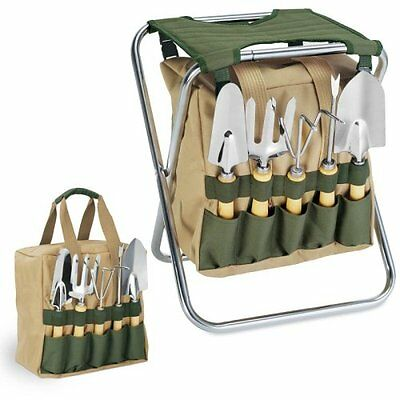 NEW 5-Piece Garden Tool Set With Tote And Folding Seat Yard Planting Flowers