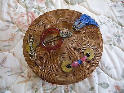 """Antique Victorian Sewing Basket 7"""" Tassels Ring Beads Coins Wicker Lid"""