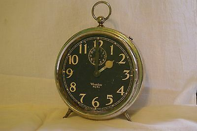 Old Vintage antique Westclox Big Ben 1925 patent black dial peg leg alarm clock