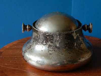 Old Silver Plate Walker & Hall Ships Revolving Lid Ashtray Old Sheffield ED