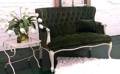 Shabby Chic Vintage Tufted Velvet Hunter Green Settee Distressed Pick Up ONLY