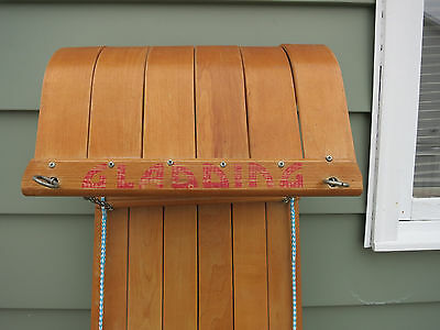 VINTAGE Wooden Snow Toboggan Sled GLADDING With Cushion Five Person Pad See!