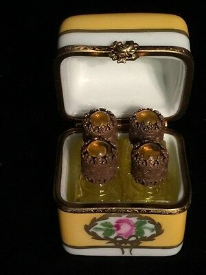 Antique French Limoges Porcelain Perfume Casket Box with 4 Ornate Glass Bottles
