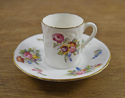 Old Coalport Floral Gilded Edge Ornate Small Coffee Cup And Saucer