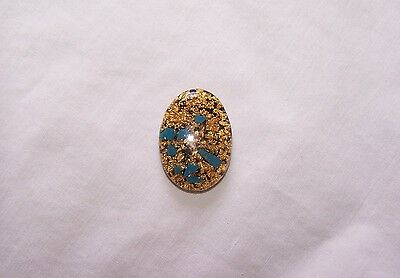 Pounded Gold & Turqouise Cabochon , 25X18mm, 22kt
