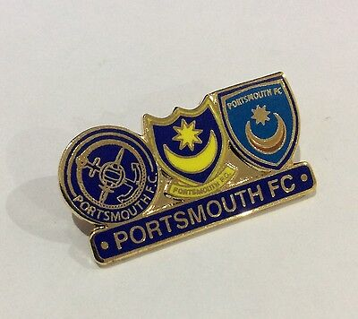 "PORTSMOUTH Football Club Badge FC Supporters ""THREE SHIELD"" Enamel POMPEY Pin"
