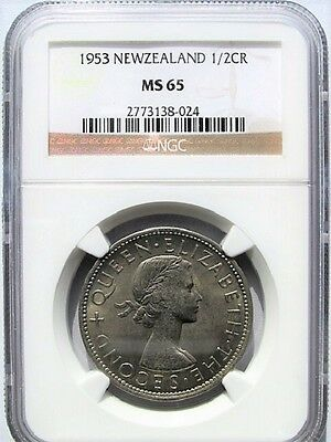New Zealand 1953 Half Crown 2/6 NGC MS 65, Very Low Mintage
