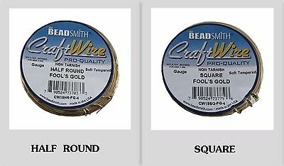 Square-Half Round Bead Smith Wire 18-20-22 gauge FOOL'S GOLD