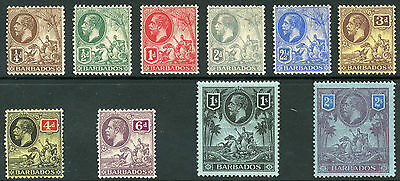 BARBADOS  ~  #116 - 125  Mint Hinged  Short  Set  ~  George V  ~  S3661