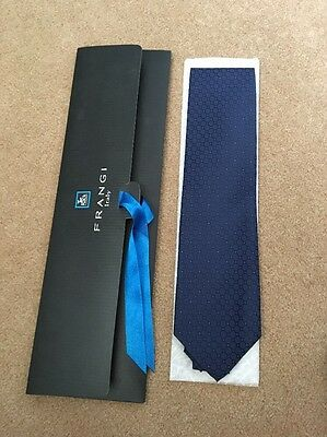 New With Tags Tie Rack London Frangi Italy Silk Navy Blue With Pink Detail Tie