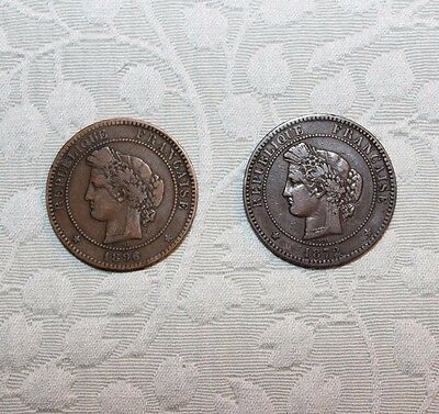 France 10 Centimes Coins 1872 and 1896