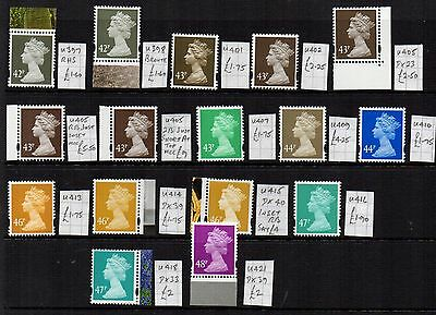 MACHIN  16 x 42p TO 48p  DIFFERENT SPECIALISED CV £45  APPROX   UNHINGED MINT