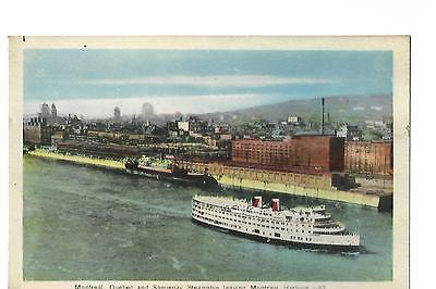 Montreal. Quebec & Saguenay Steamship Leaving Harbour. Shipping.